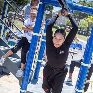 Ayesha Curry tests the new playground zipline